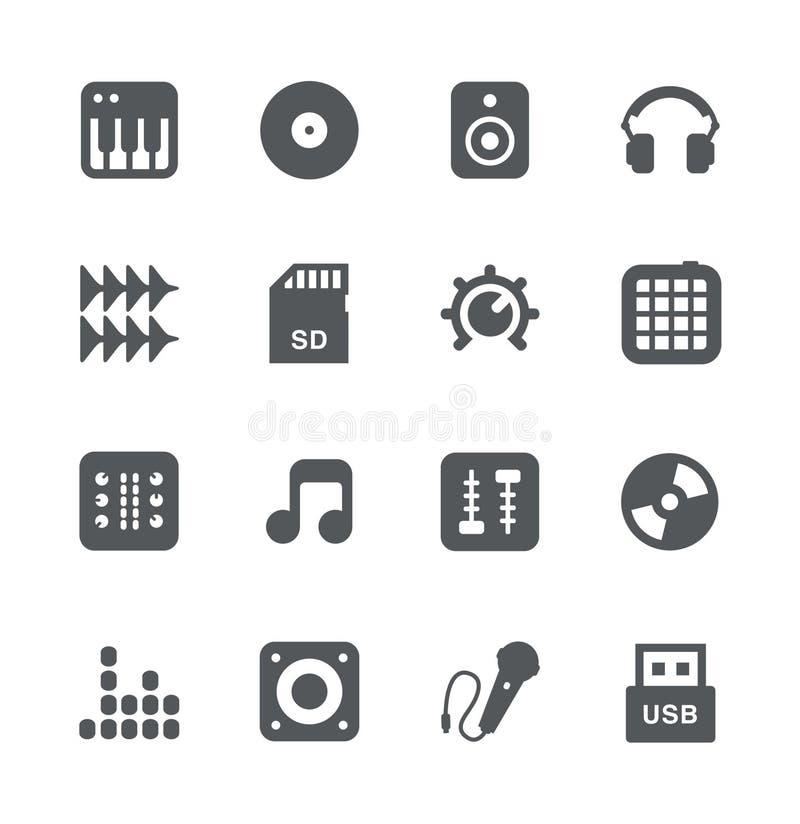 Ícones simples do equipamento do DJ ajustados ilustração royalty free