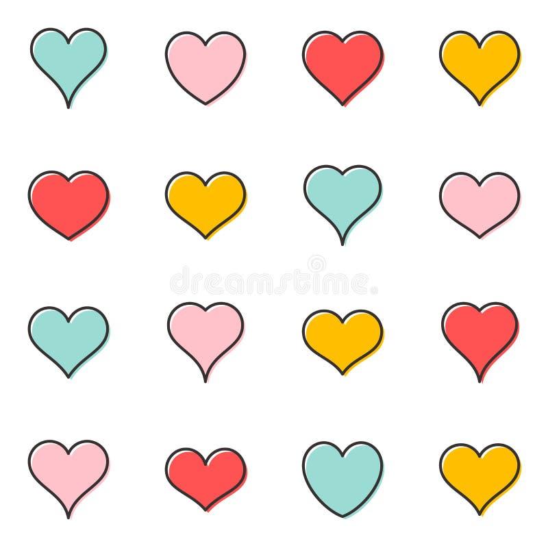Ícones simples do esboço do coração do vetor ilustração stock