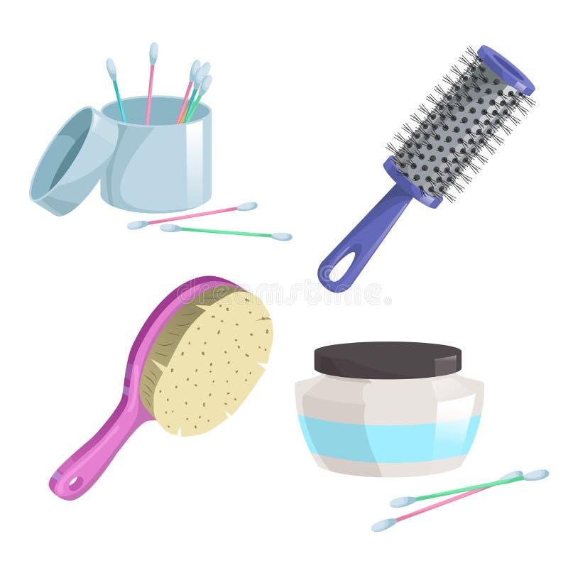 Ícones simples do inclinação dos desenhos animados do banho e dos cuidados médicos ajustados Cilindro cor-de-rosa e azul plástico ilustração do vetor