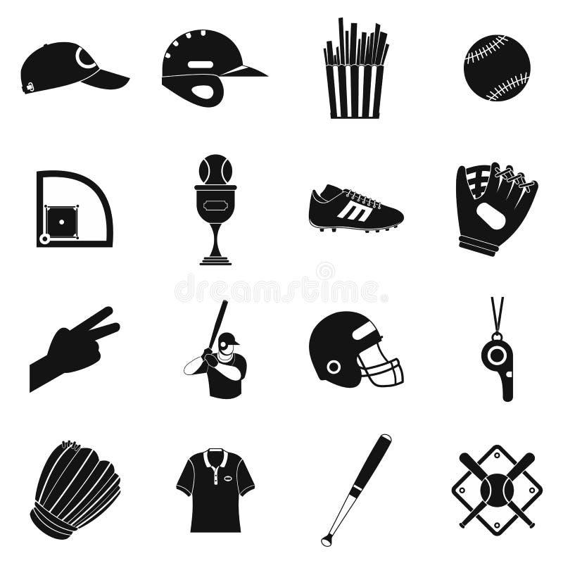 Ícones simples do preto do futebol americano ilustração royalty free
