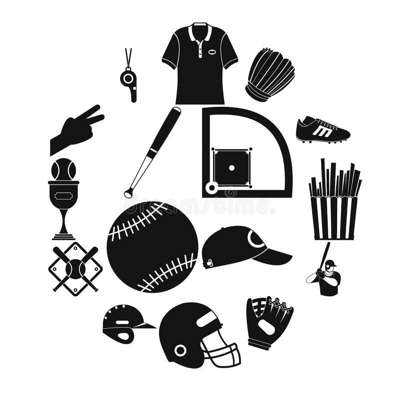 Ícones simples do preto do futebol americano ilustração do vetor