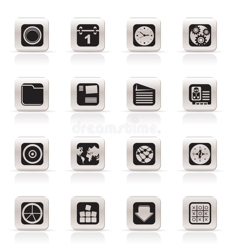 Ícones simples do telefone móvel, do computador e do Internet ilustração do vetor
