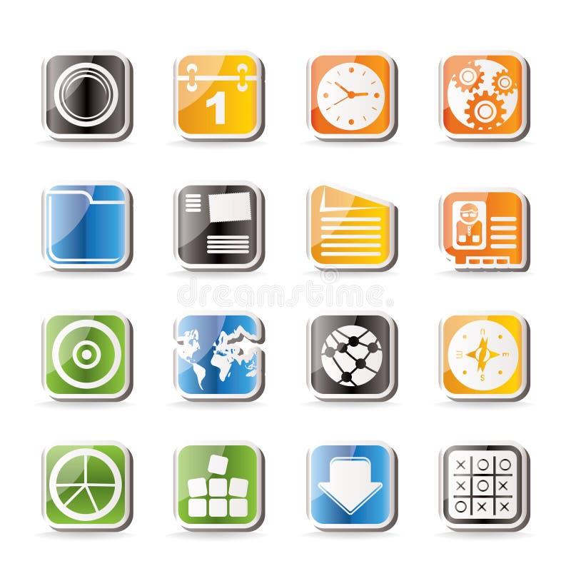 Ícones simples do telefone móvel, do computador e do Internet ilustração royalty free