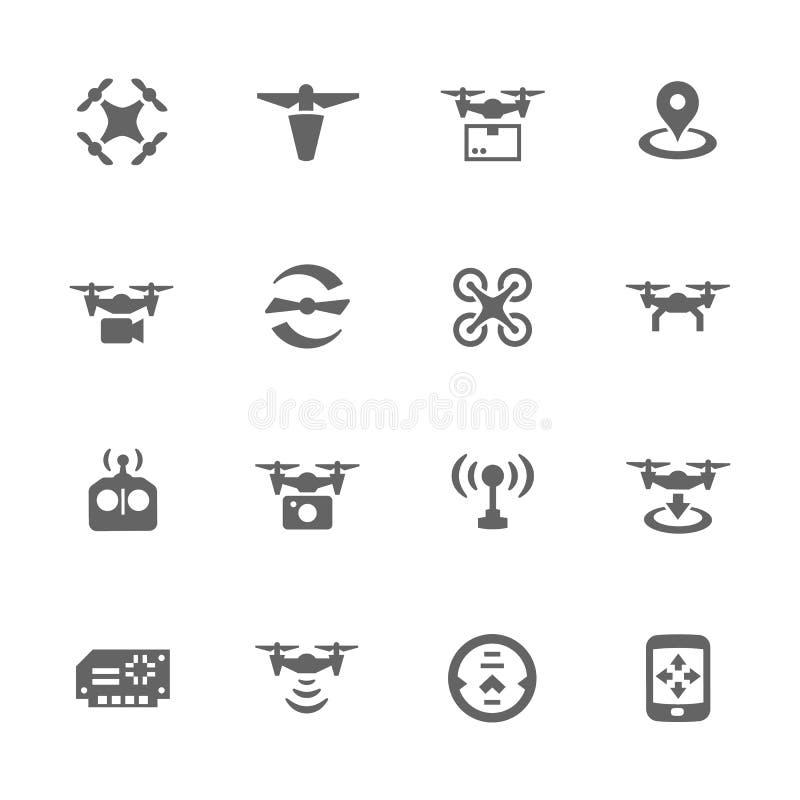 Ícones simples do zangão ilustração do vetor