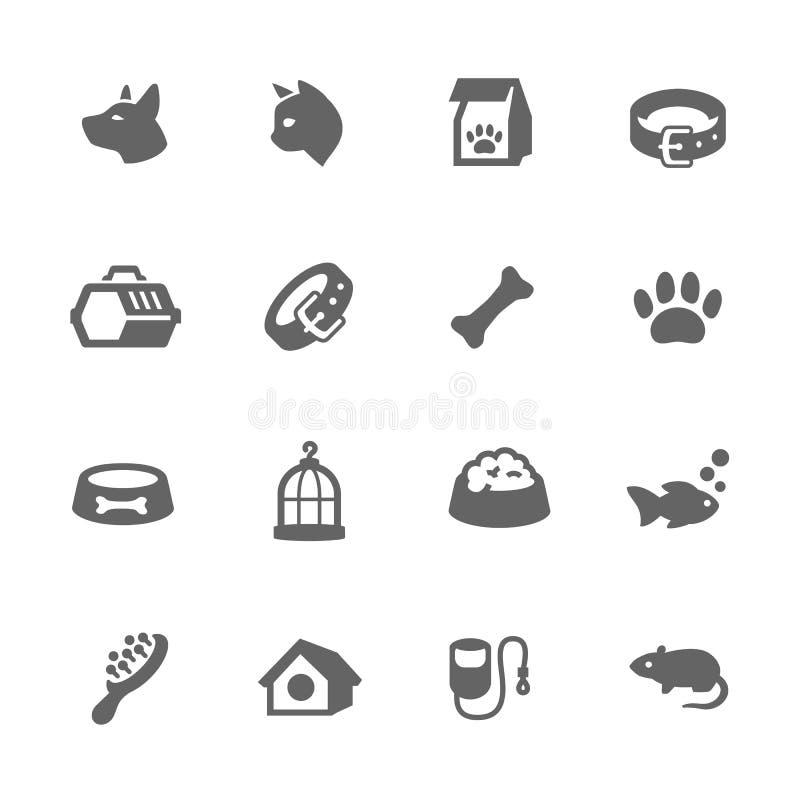 Ícones simples dos animais de estimação ilustração stock