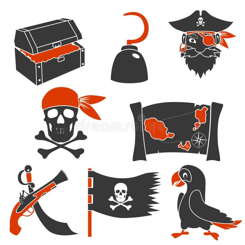 Ícones simples dos piratas ajustados ilustração do vetor