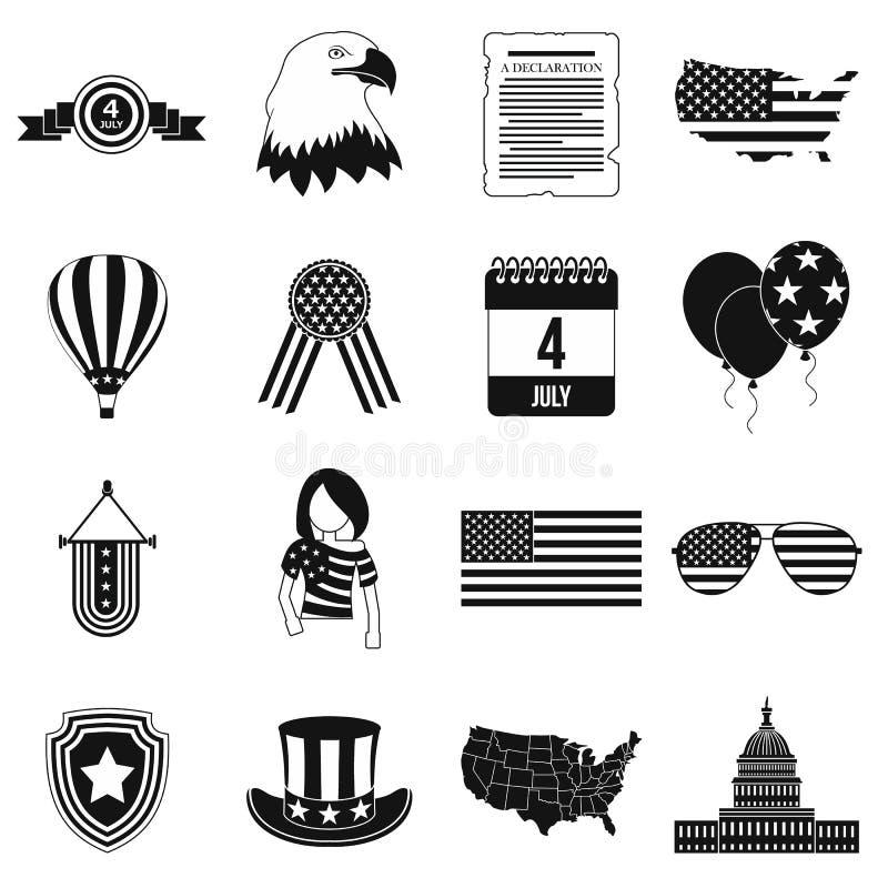 Ícones simples pretos do Dia da Independência ilustração royalty free