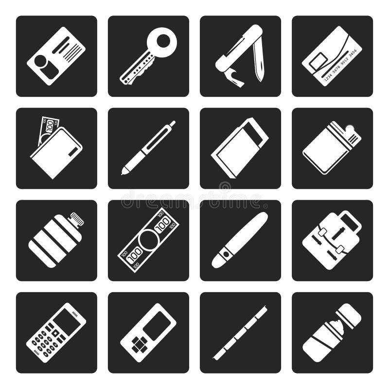 Ícones simples pretos do objeto do vetor ilustração stock