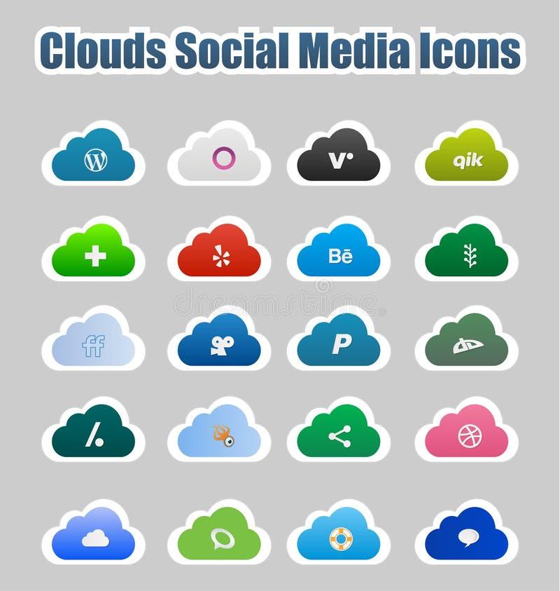 Ícones sociais 2 dos media das nuvens ilustração do vetor