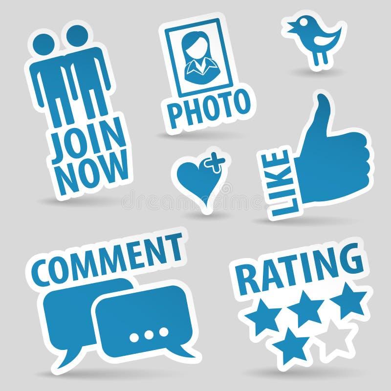 Ícones sociais ajustados dos media ilustração do vetor