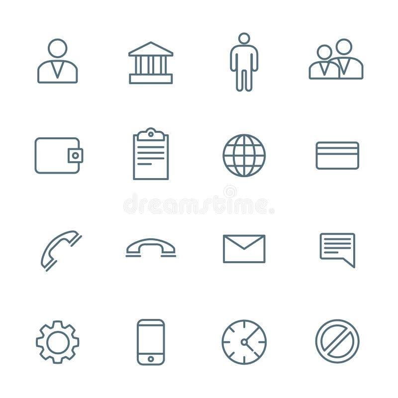 Ícones sociais da rede do esboço escuro vários ajustados ilustração royalty free