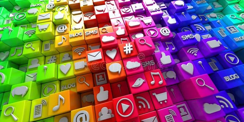 Ícones sociais da rede dos meios no arco-íris de blocos coloridos ilustração stock