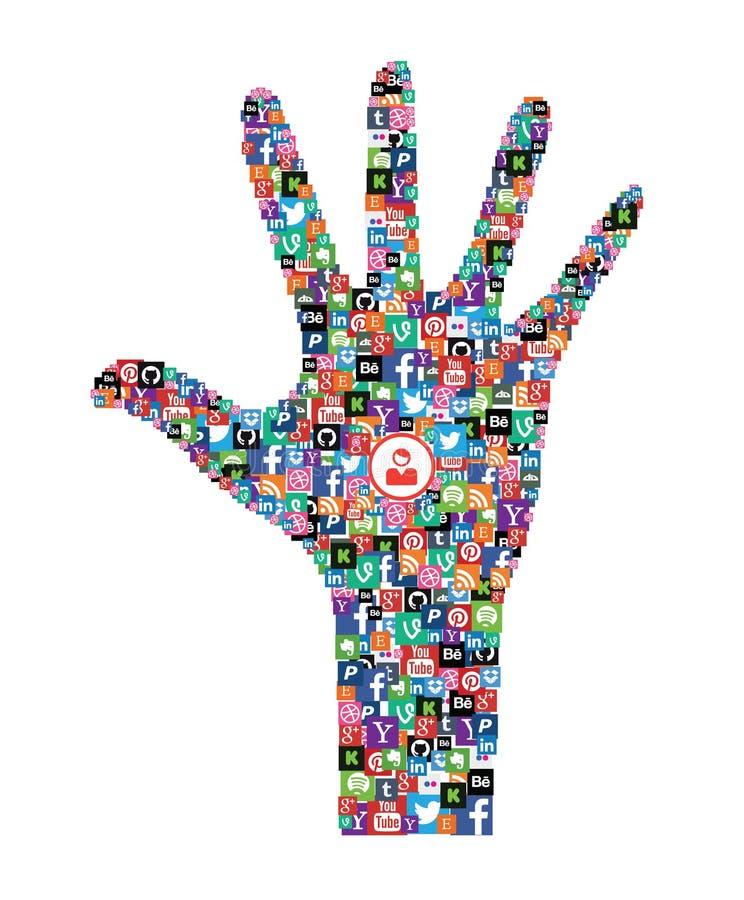 Ícones sociais da Web dos meios ilustração stock