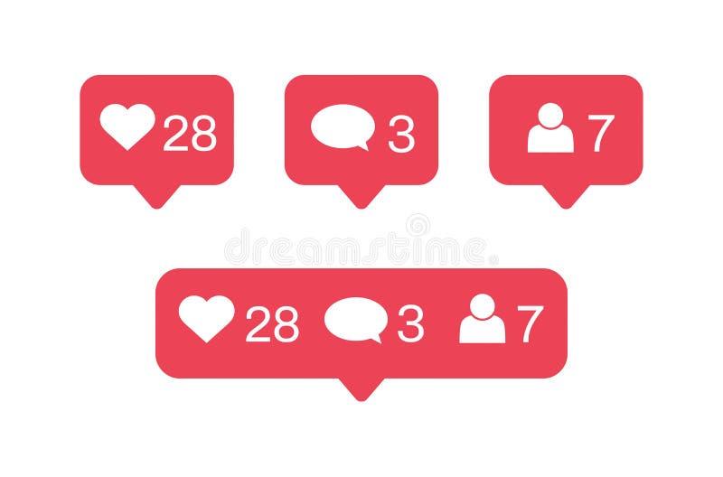 Ícones sociais das notificações dos meios O gosto, comentário, segue o ícone Ilustra??o do vetor ilustração do vetor