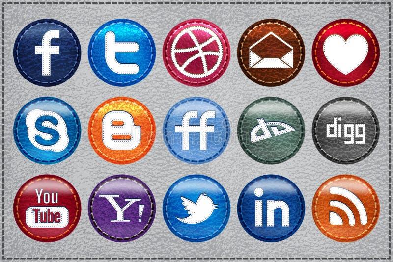 Ícones sociais de couro dos media ilustração royalty free