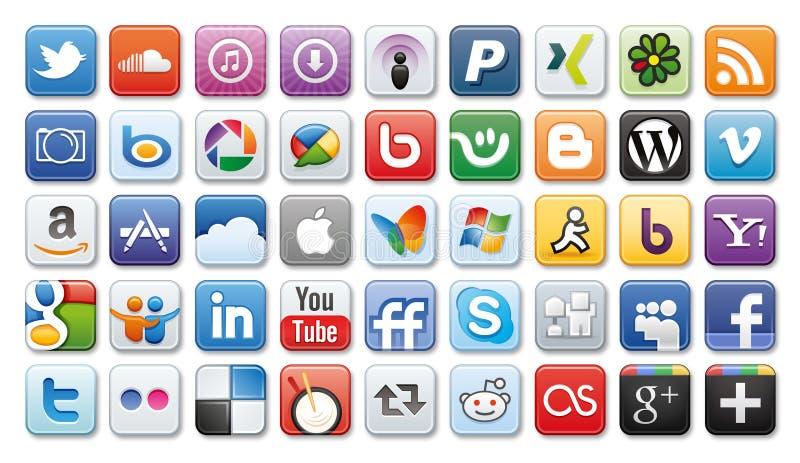 Ícones sociais de /network dos media ilustração royalty free