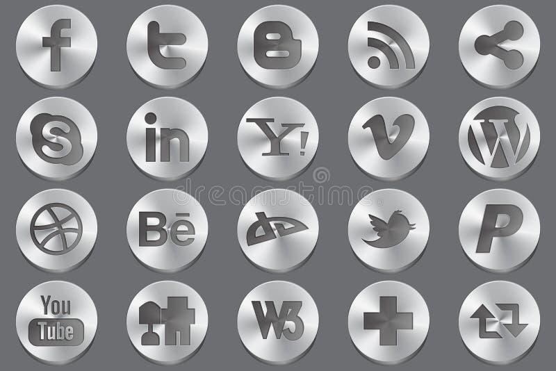 Ícones sociais do oval dos media ilustração stock