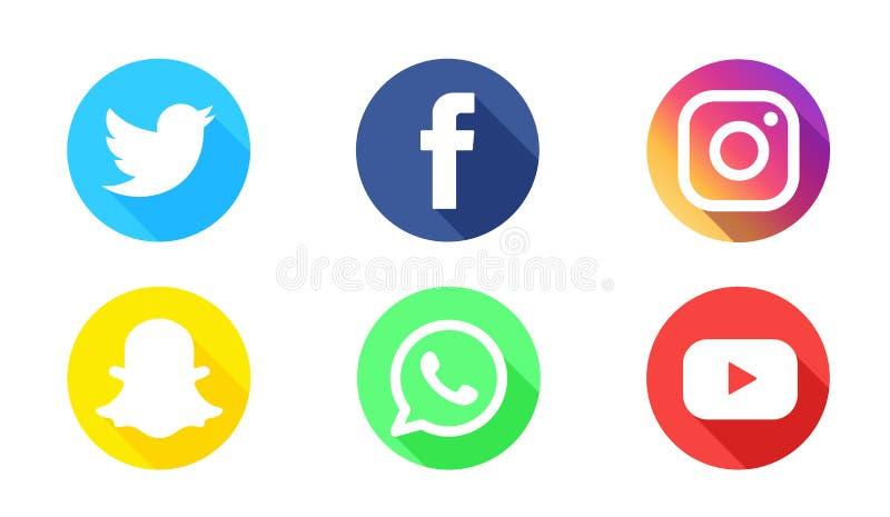 Ícones sociais do vetor do logotype dos meios ilustração do vetor