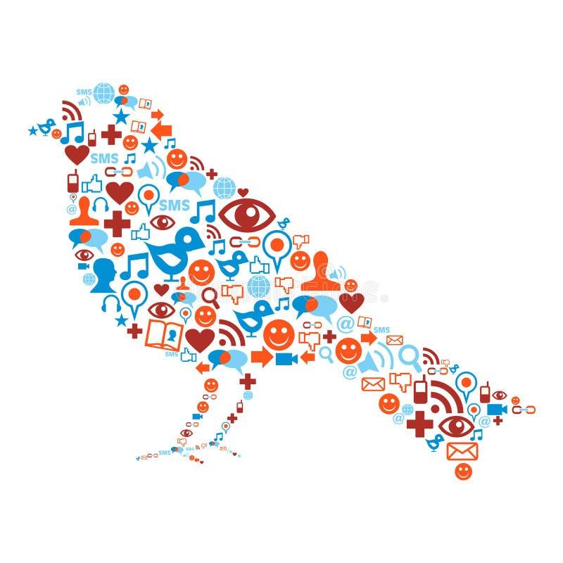 Ícones sociais dos media ajustados na composição do pássaro ilustração stock