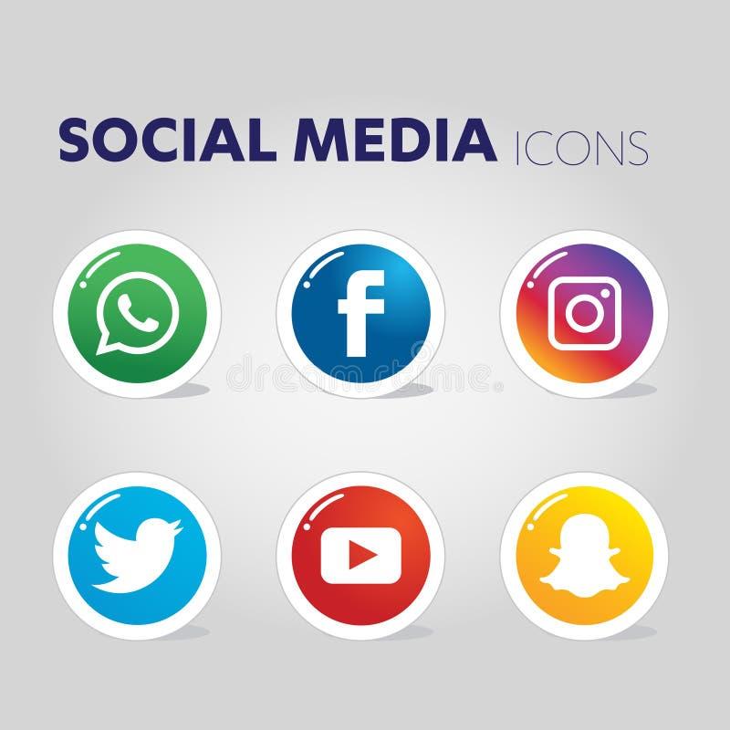 Ícones sociais dos meios fotografia de stock royalty free