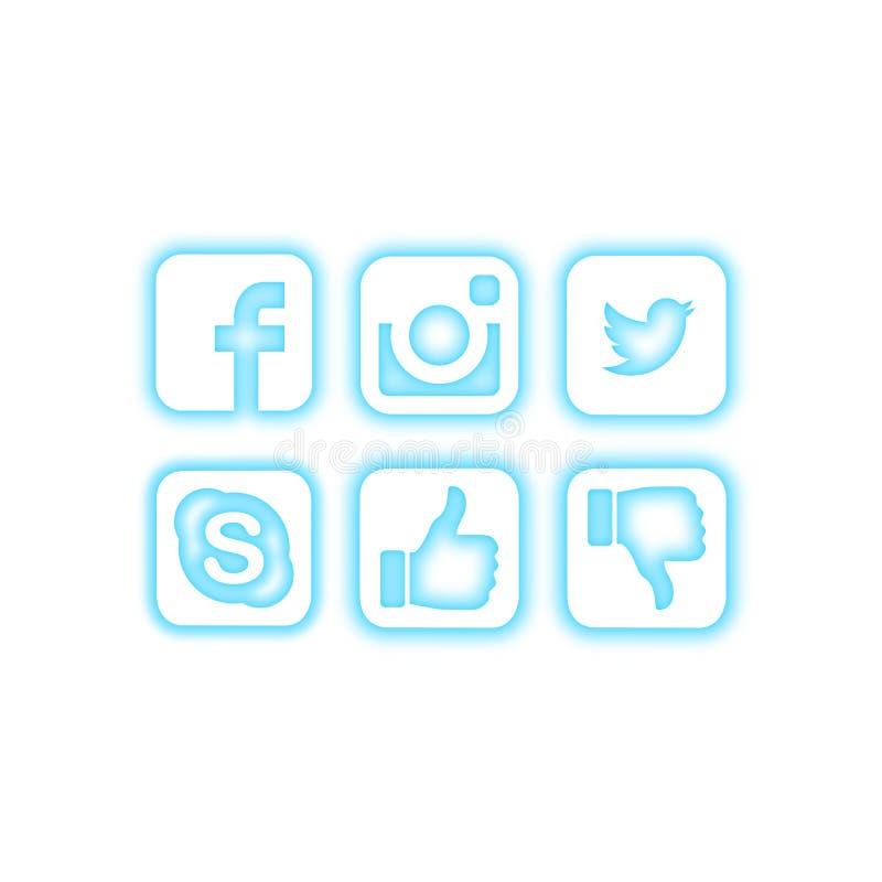 Ícones sociais dos meios com efeito de néon azul ilustração royalty free