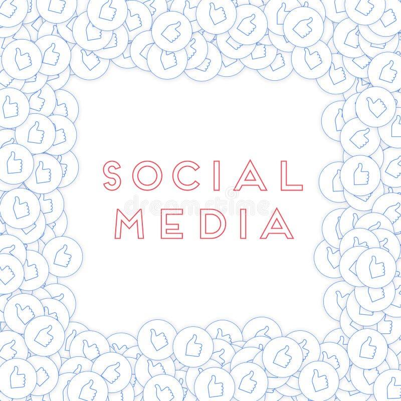 Ícones sociais dos meios Conceito social dos media Polegares dispersados de queda acima Elementos caóticos da beira no wh ilustração do vetor