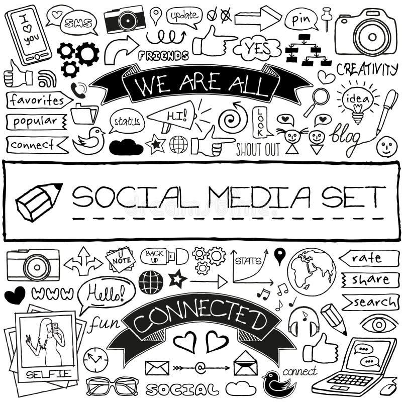 Ícones sociais dos meios da garatuja ajustados ilustração stock