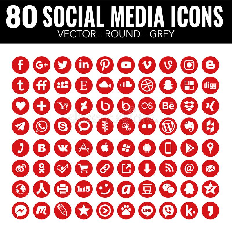 Ícones sociais dos meios do círculo vermelho do vetor - para o design web e o projeto gráfico ilustração do vetor