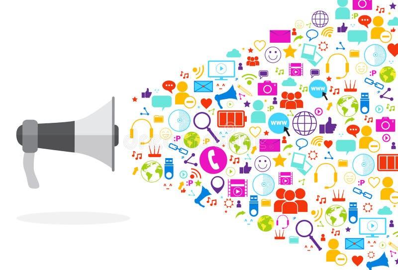 Ícones sociais dos meios do megafone no conceito branco de uma comunicação da rede do fundo ilustração stock