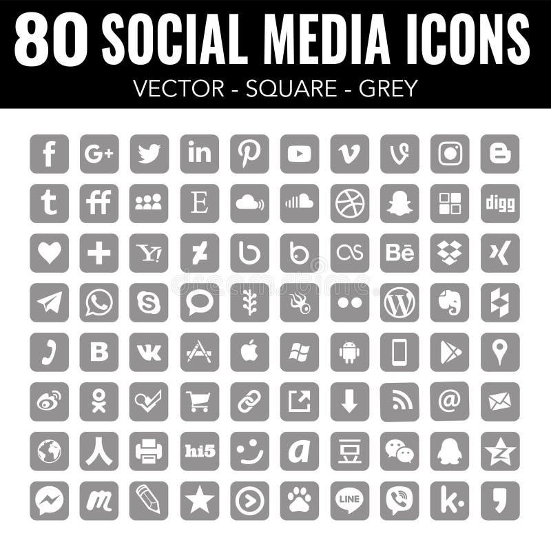 Ícones sociais dos meios do quadrado de Grey Vetora - para o design web e o projeto gráfico ilustração royalty free