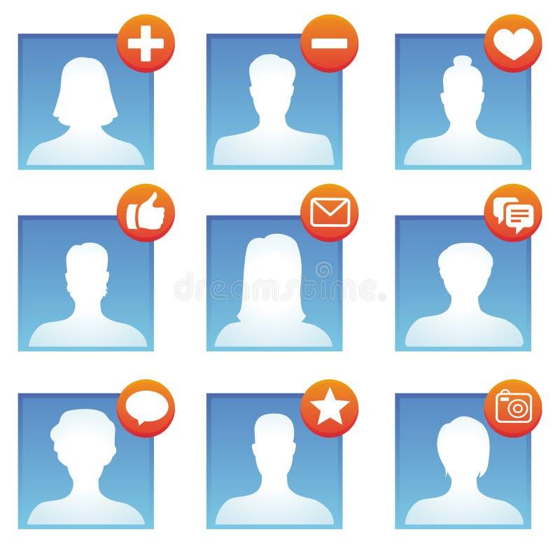 Ícones sociais dos meios do vetor ilustração stock