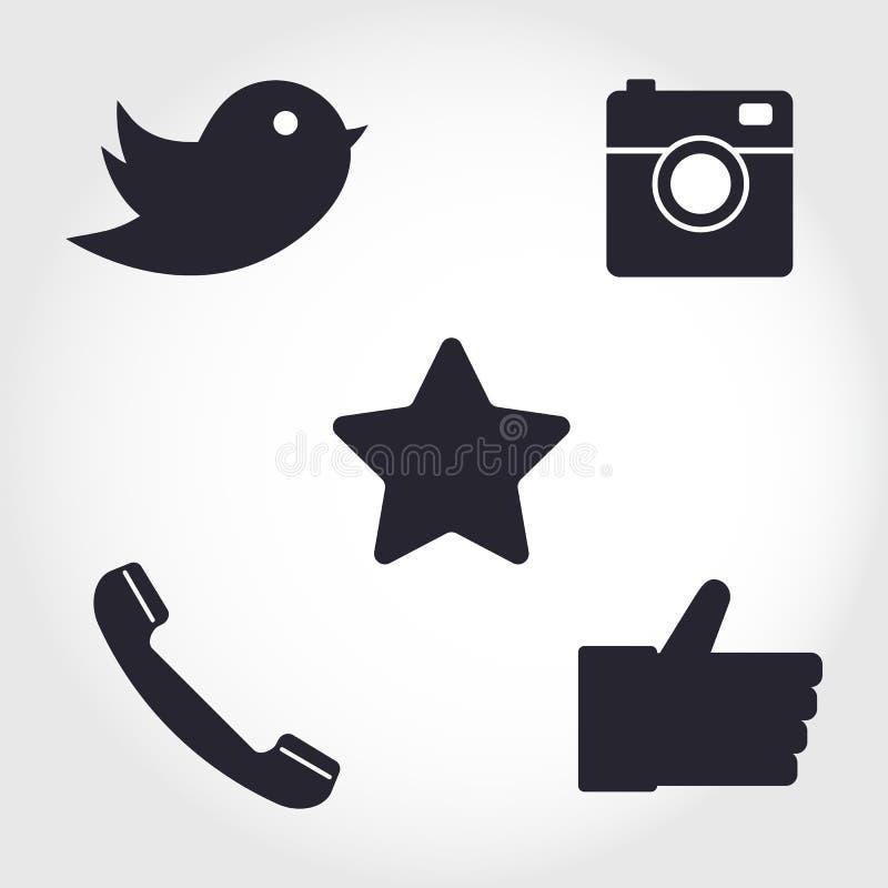 Ícones sociais dos meios e da rede ajustados Coleção do ícone diferente ilustração royalty free