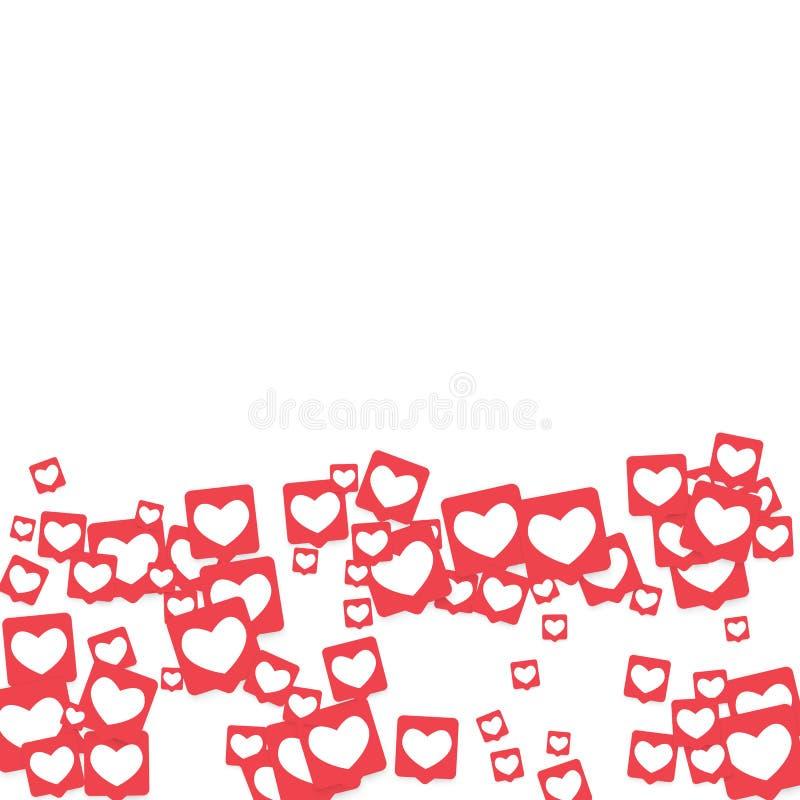 Ícones sociais dos meios Notificações da rede com coração branco no quadrado cor-de-rosa ilustração do vetor