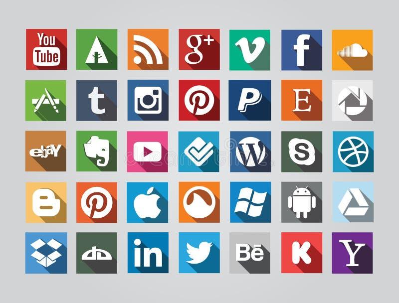 Ícones sociais quadrados dos meios ilustração do vetor