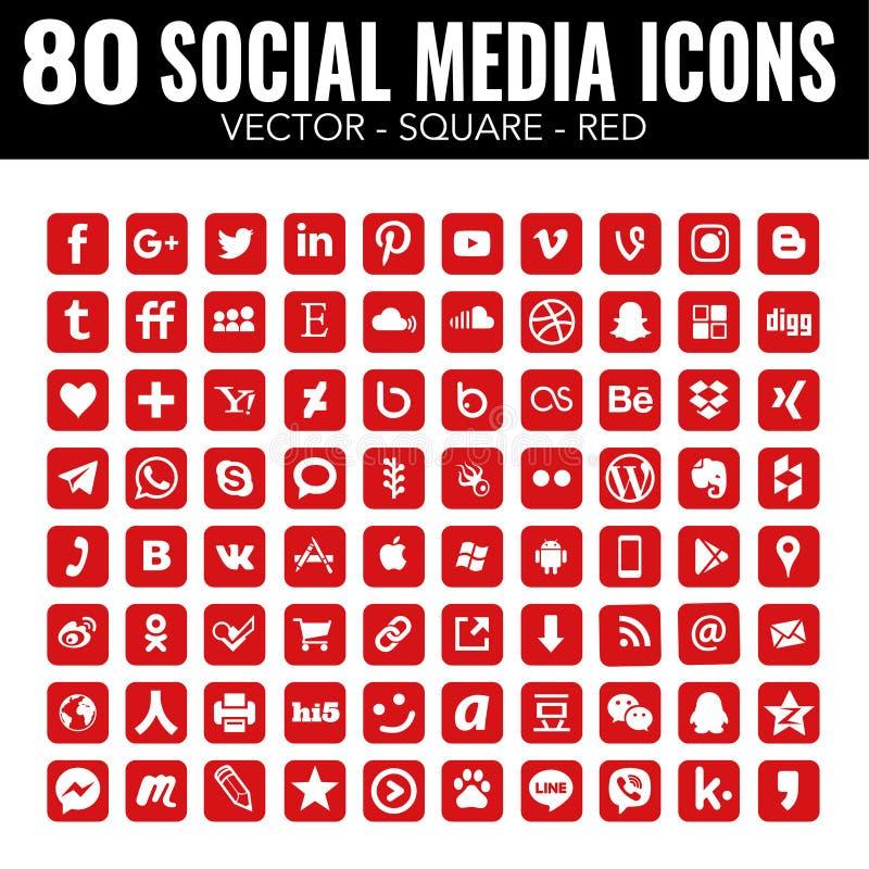 Ícones sociais quadrados dos meios do vetor vermelho - para o design web e o projeto gráfico ilustração stock