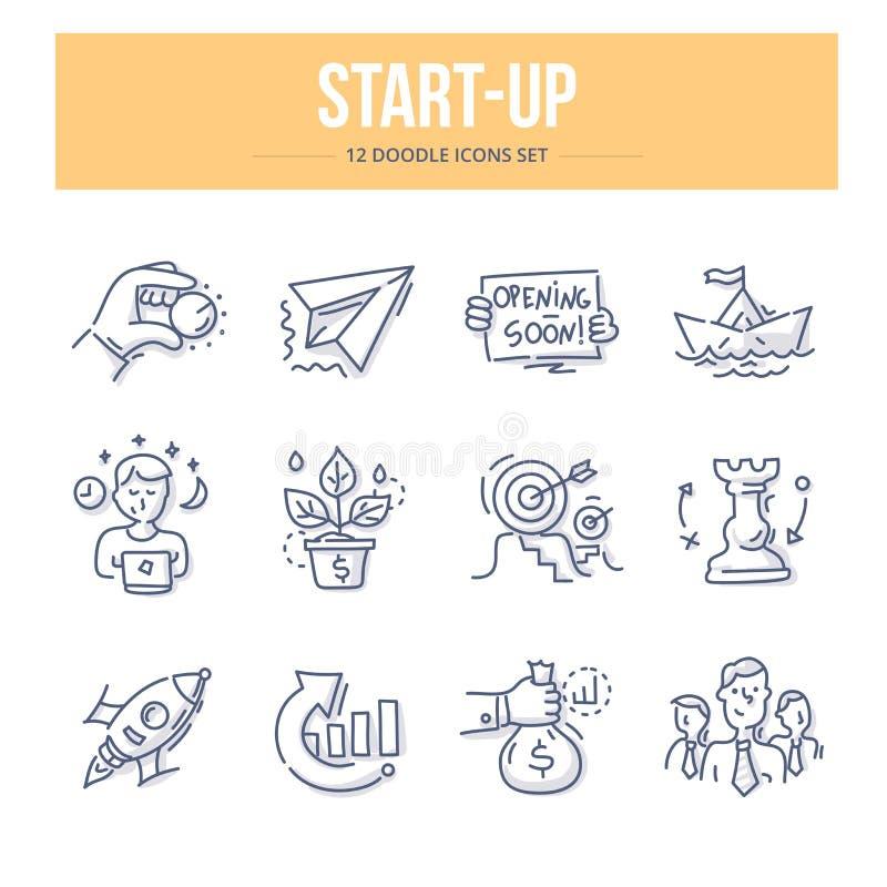 Ícones Start-Up da garatuja ilustração royalty free