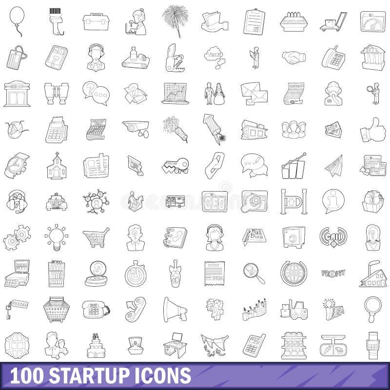 100 ícones startup ajustados, estilo do esboço ilustração royalty free