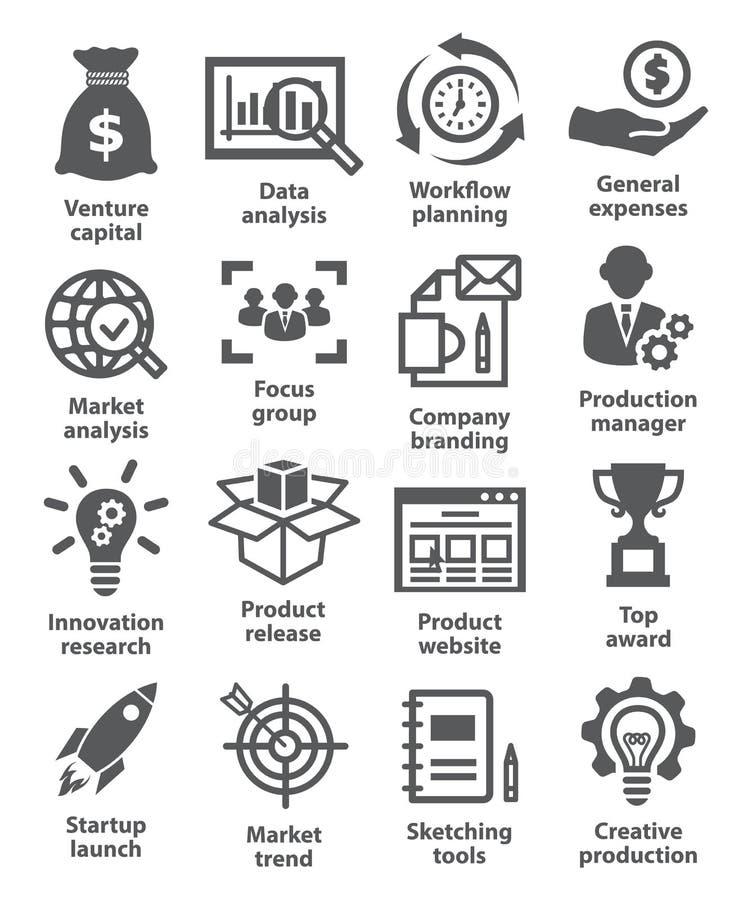 Ícones Startup do negócio e do desenvolvimento ilustração stock