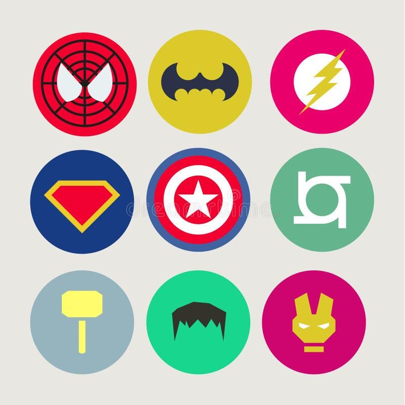 Ícones, sumário, tweaked para super-herói e ilustração do vetor