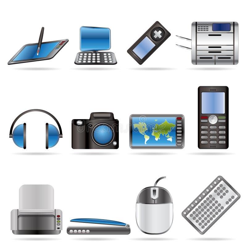 Ícones técnicos altas tecnologia do equipamento ilustração royalty free