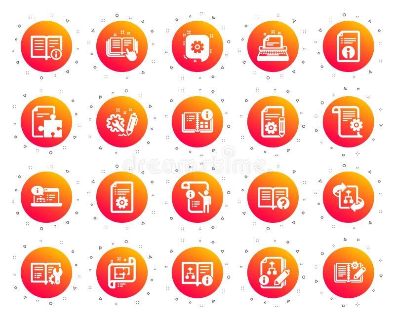 Ícones técnicos da documentação Grupo de instrução, de plano e de manual Vetor ilustração royalty free