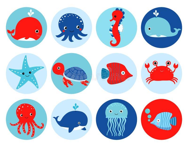 Ícones temáticos bonitos do oceano vermelho e azul do vetor com animais de mar ilustração stock