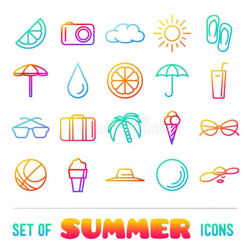Ícones temáticos das férias com linhas e inclinação finos ilustração do vetor