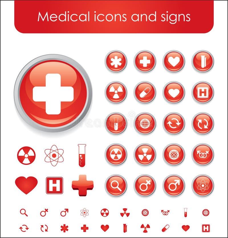 Ícones temáticos médicos vermelhos ilustração stock