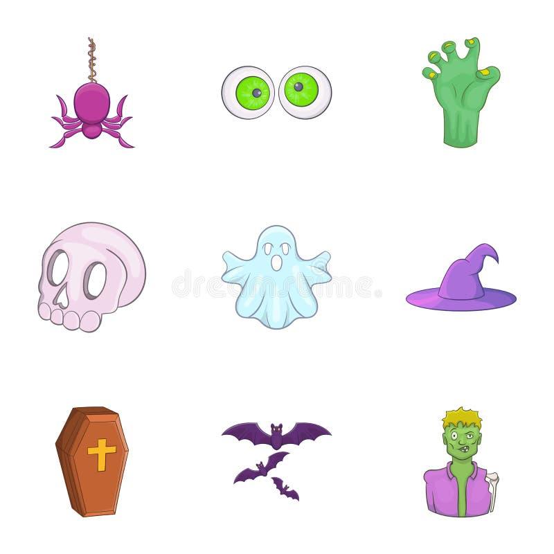 Download Ícones Terríveis Ajustados, Estilo Do Feriado Dos Desenhos Animados Ilustração do Vetor - Ilustração de cemetery, halloween: 80101222