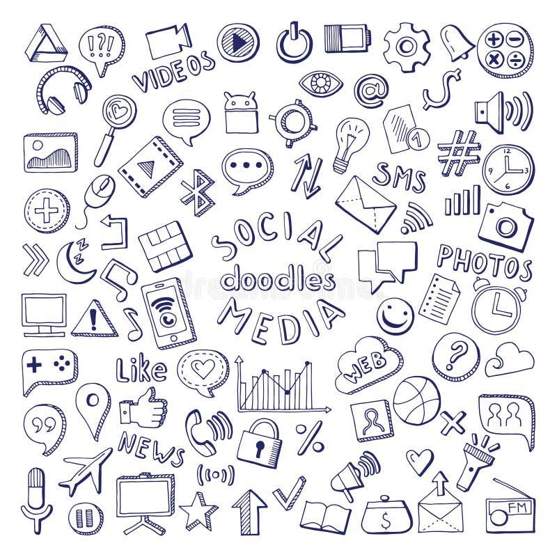 Ícones tirados dos meios mão social ajustados Ilustrações do vetor da garatuja do computador e da rede ilustração stock
