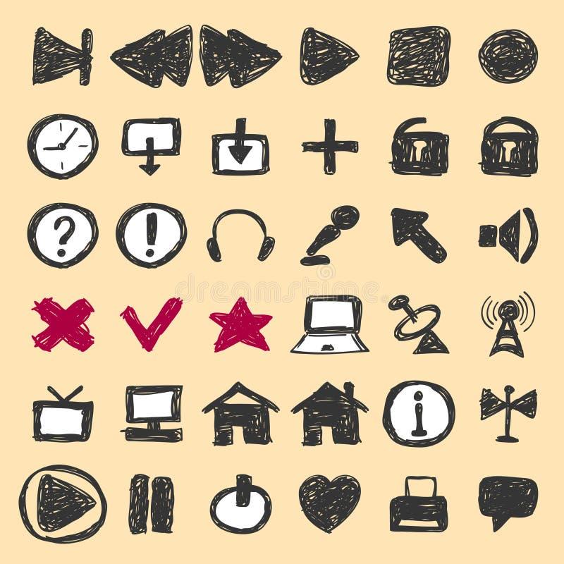 Ícones tirados mão ilustração stock