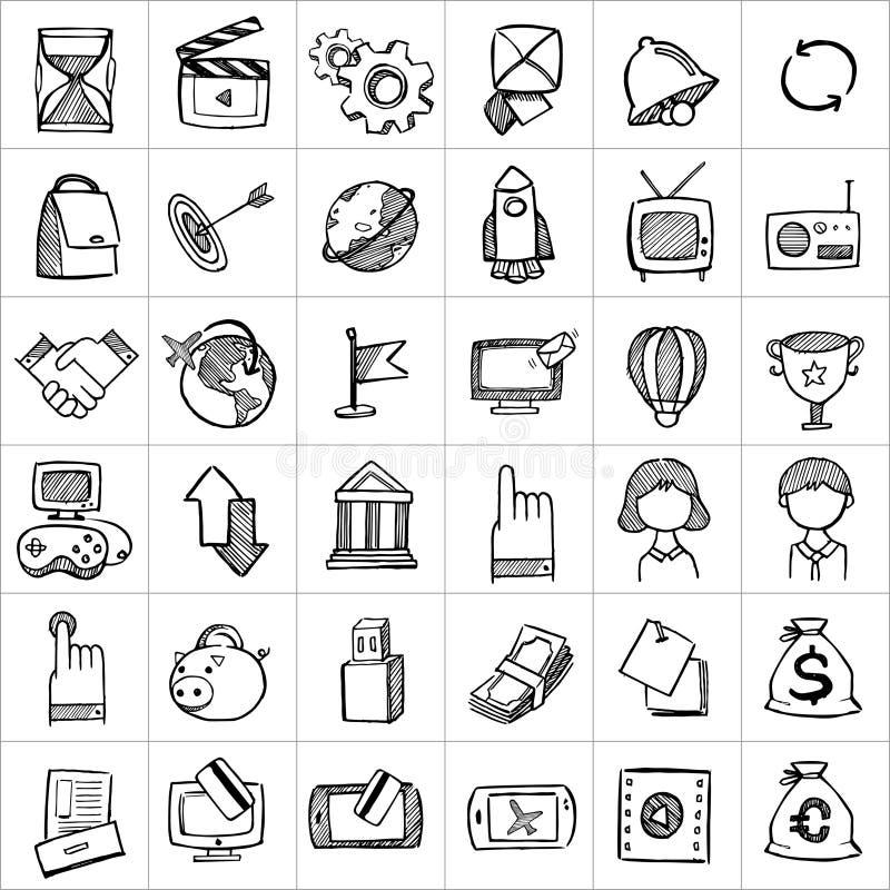Ícones tirados mão 004 ilustração stock