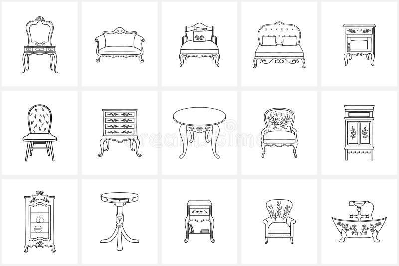 Ícones tirados mão da mobília do vintage ilustração royalty free