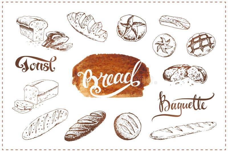 Ícones tirados mão da padaria ajustados  ilustração royalty free